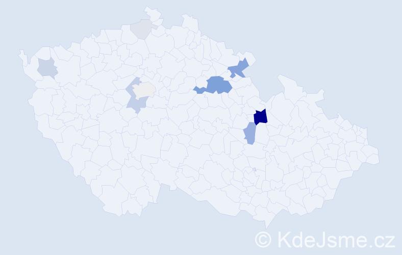 Příjmení: 'Krejsar', počet výskytů 33 v celé ČR