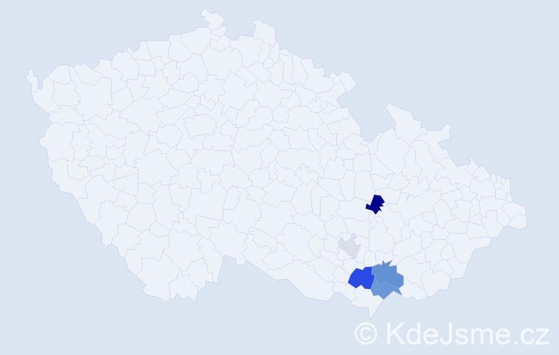 Příjmení: 'Defeldová', počet výskytů 8 v celé ČR