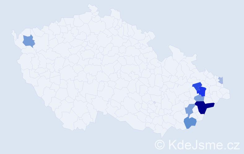 Příjmení: 'Biernát', počet výskytů 18 v celé ČR