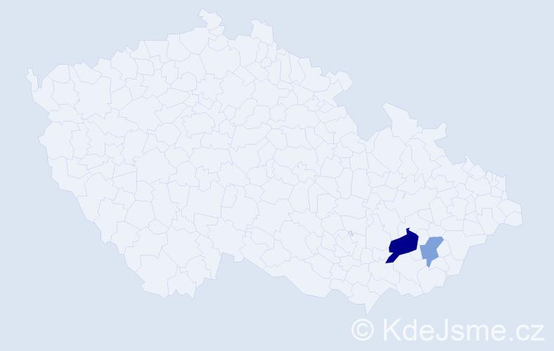Příjmení: 'Joachimczyková', počet výskytů 4 v celé ČR