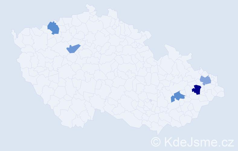 Příjmení: 'Dávidíková', počet výskytů 12 v celé ČR