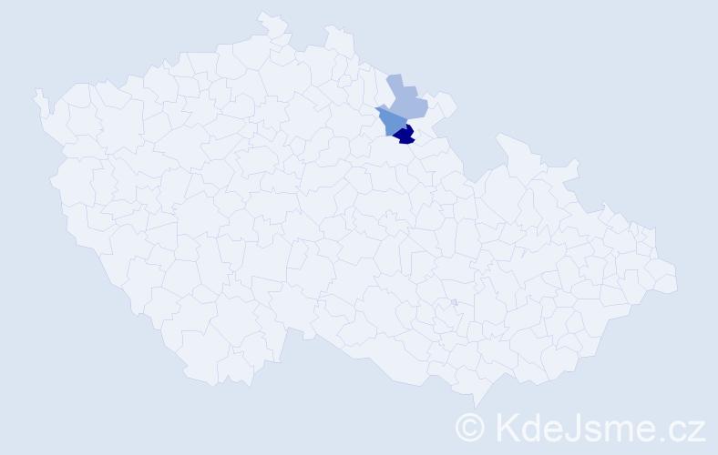 Příjmení: 'Lacziková', počet výskytů 4 v celé ČR
