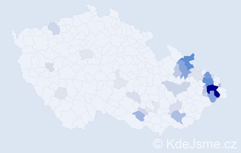 Příjmení: 'Klegová', počet výskytů 167 v celé ČR
