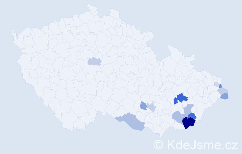 Příjmení: 'Bělánek', počet výskytů 37 v celé ČR