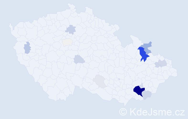 Příjmení: 'Kodrla', počet výskytů 75 v celé ČR
