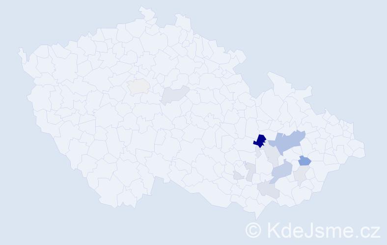 Příjmení: 'Hajkr', počet výskytů 42 v celé ČR