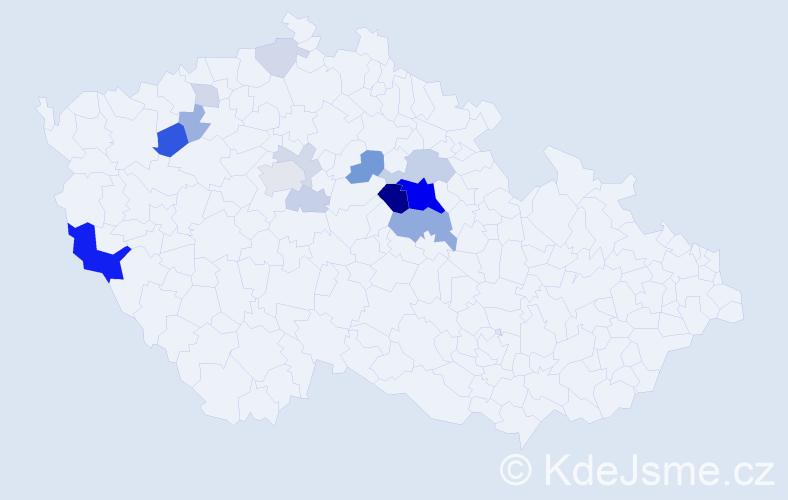 Příjmení: 'Čapský', počet výskytů 45 v celé ČR