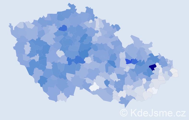 Příjmení: 'Král', počet výskytů 9965 v celé ČR