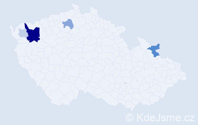Příjmení: 'Fridel', počet výskytů 18 v celé ČR