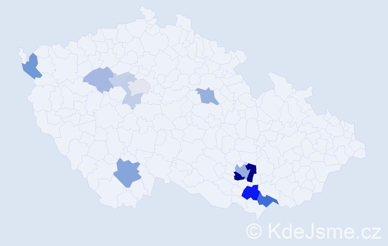 Příjmení: 'Gallinová', počet výskytů 31 v celé ČR