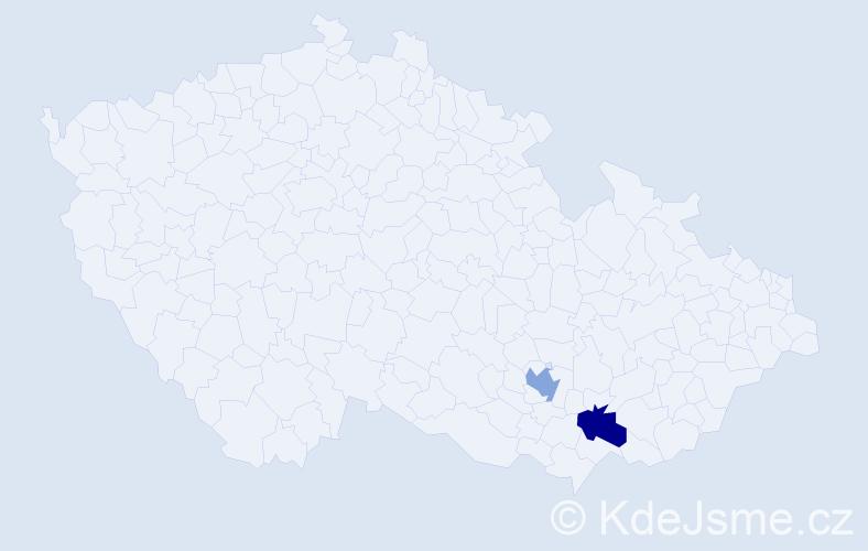 Příjmení: 'Danieliková', počet výskytů 2 v celé ČR