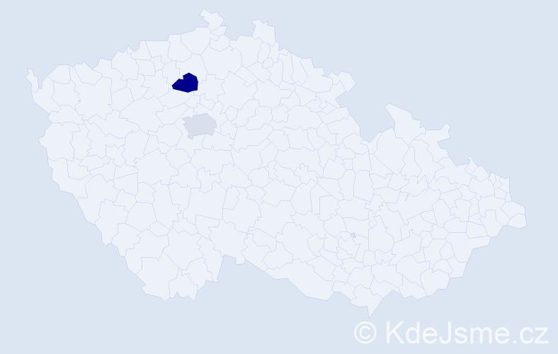 Příjmení: 'Bächer', počet výskytů 2 v celé ČR