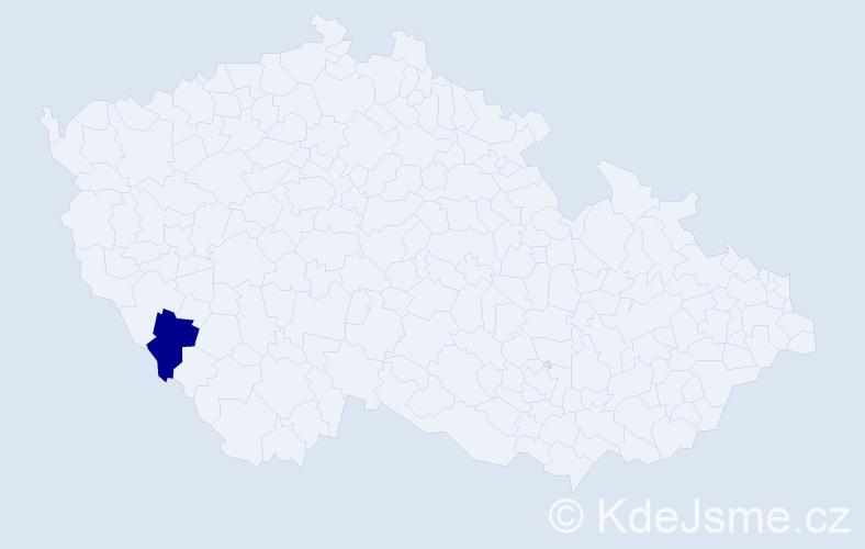 """Příjmení: '""""Hugi Dohnalová""""', počet výskytů 1 v celé ČR"""