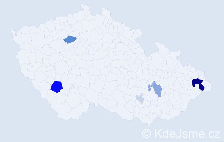 Příjmení: 'Banáková', počet výskytů 10 v celé ČR