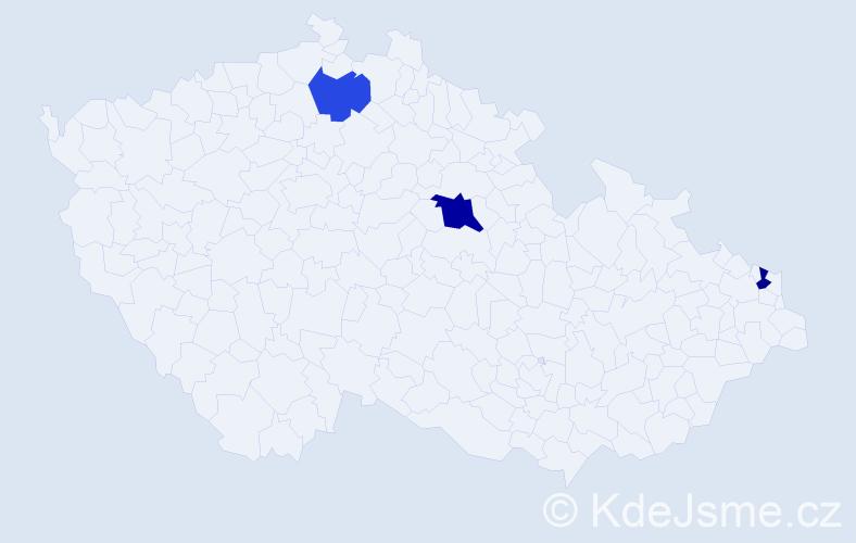 Příjmení: 'Čupajová', počet výskytů 8 v celé ČR