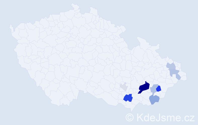 Příjmení: 'Gurica', počet výskytů 15 v celé ČR