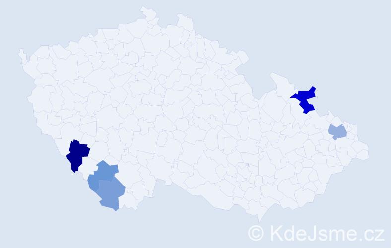 Příjmení: 'Bigasz', počet výskytů 10 v celé ČR