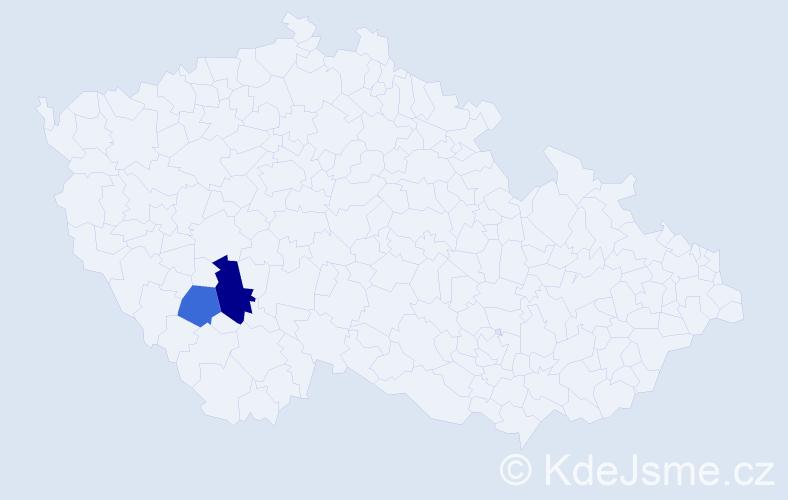Příjmení: 'Hampergrová', počet výskytů 3 v celé ČR