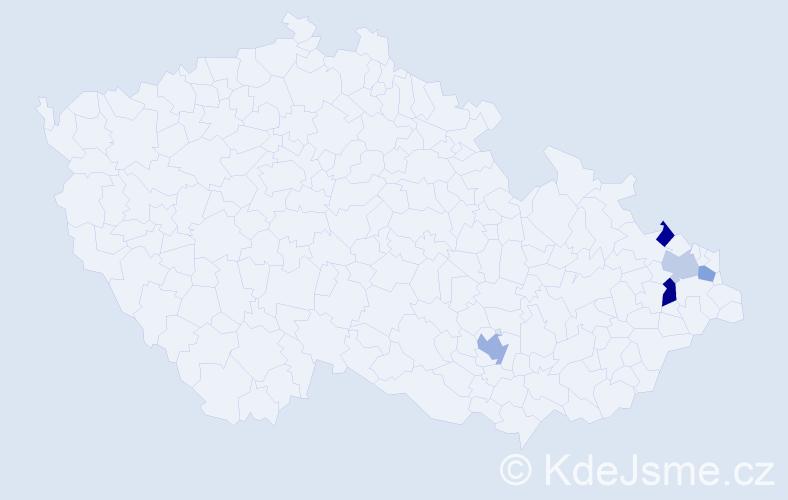 Příjmení: 'Bělcová', počet výskytů 7 v celé ČR