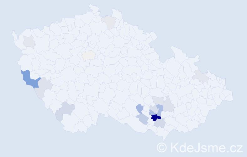 Příjmení: 'Drahonská', počet výskytů 40 v celé ČR