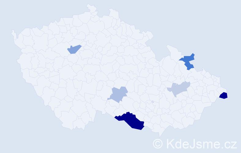 Příjmení: 'Balala', počet výskytů 15 v celé ČR