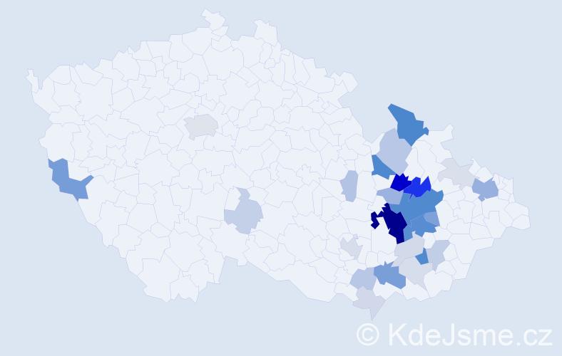 Příjmení: 'Jurník', počet výskytů 101 v celé ČR