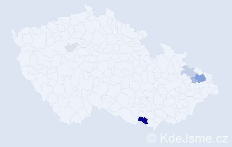 Příjmení: 'Brumek', počet výskytů 22 v celé ČR