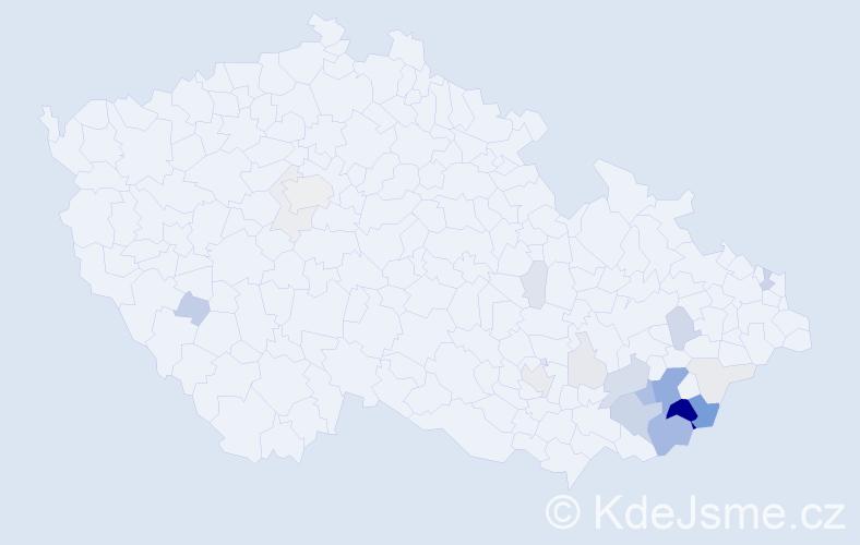 Příjmení: 'Dynka', počet výskytů 70 v celé ČR