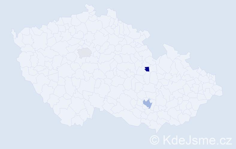 Příjmení: 'Kutzerová', počet výskytů 4 v celé ČR