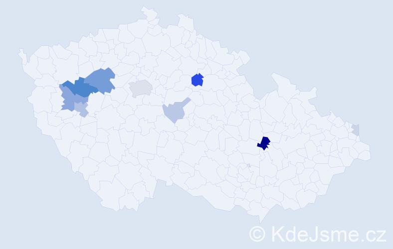 Příjmení: 'Fuchman', počet výskytů 21 v celé ČR