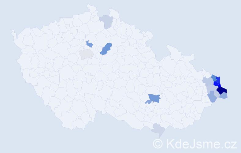 Příjmení: 'Malysz', počet výskytů 77 v celé ČR