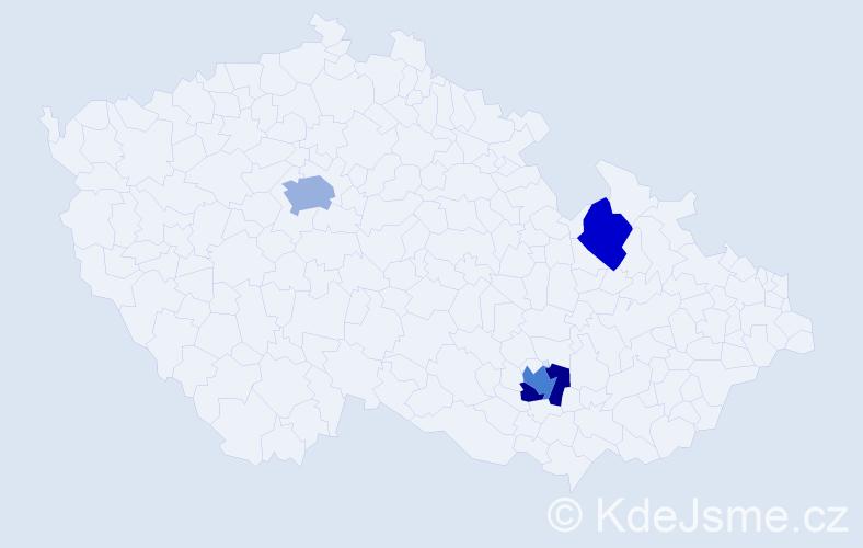Příjmení: 'Danová', počet výskytů 6 v celé ČR
