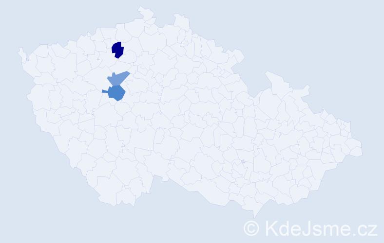 Příjmení: 'Haugová', počet výskytů 3 v celé ČR