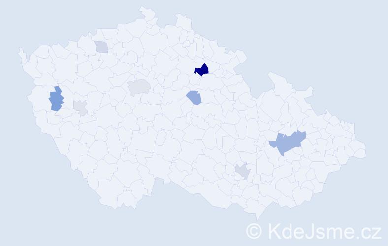 Příjmení: 'Kukan', počet výskytů 20 v celé ČR
