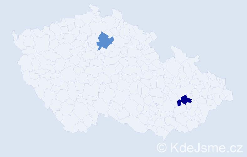 Příjmení: 'Dovičinová', počet výskytů 6 v celé ČR