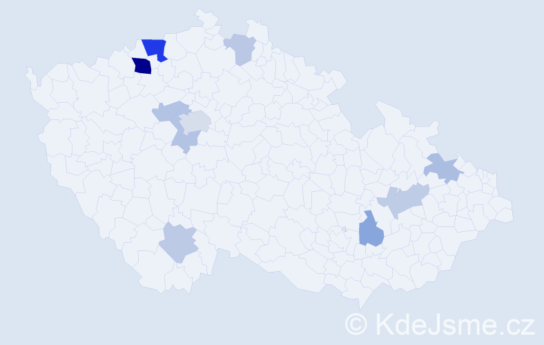 Příjmení: 'Hortig', počet výskytů 21 v celé ČR