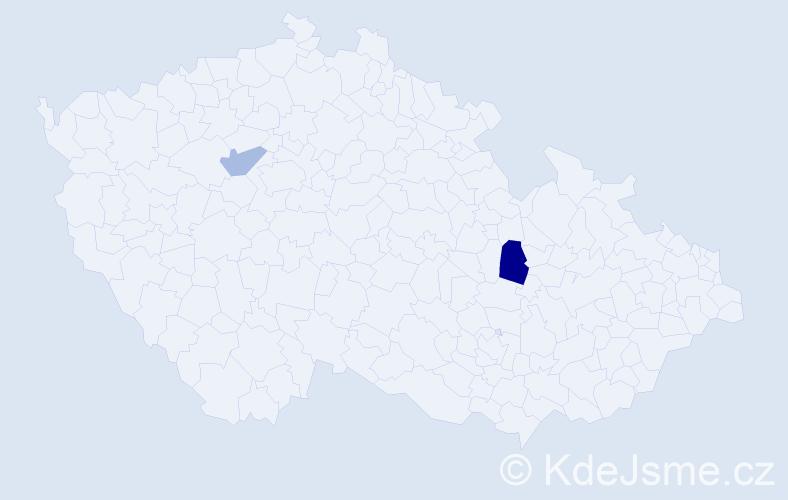 Příjmení: 'Jakobsenová', počet výskytů 3 v celé ČR
