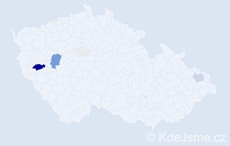 Příjmení: 'Jaklín', počet výskytů 8 v celé ČR