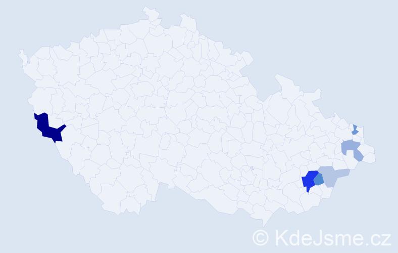 Příjmení: 'Hanáčík', počet výskytů 18 v celé ČR