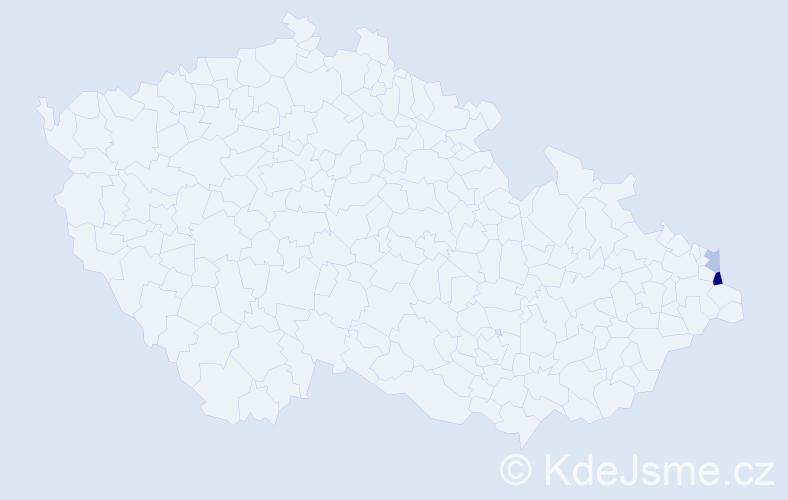 Příjmení: 'Calabrová', počet výskytů 4 v celé ČR