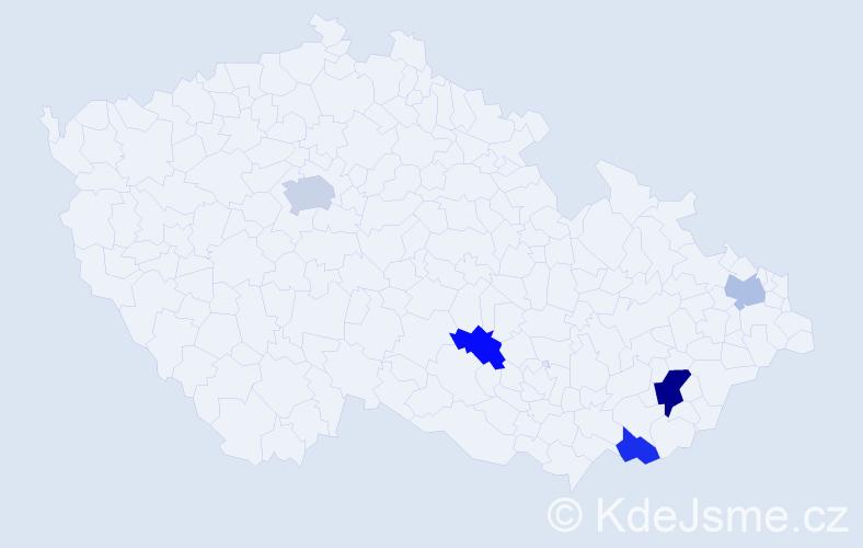Příjmení: 'Machovčáková', počet výskytů 8 v celé ČR
