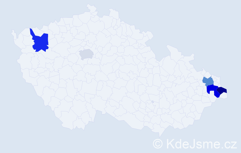 Příjmení: 'Delinčáková', počet výskytů 17 v celé ČR