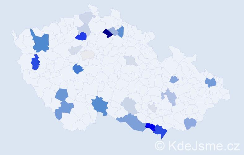 Příjmení: 'Harman', počet výskytů 70 v celé ČR
