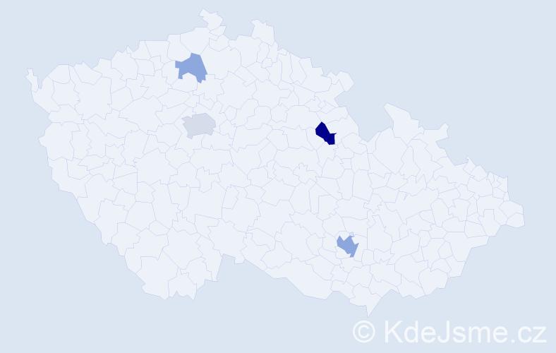 Příjmení: 'Lesenská', počet výskytů 10 v celé ČR