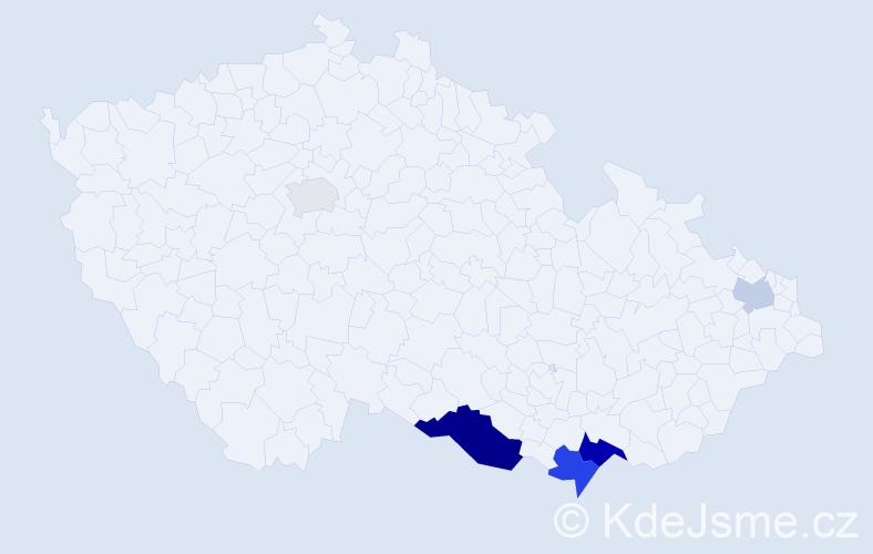 Příjmení: 'Hrnčiríková', počet výskytů 11 v celé ČR