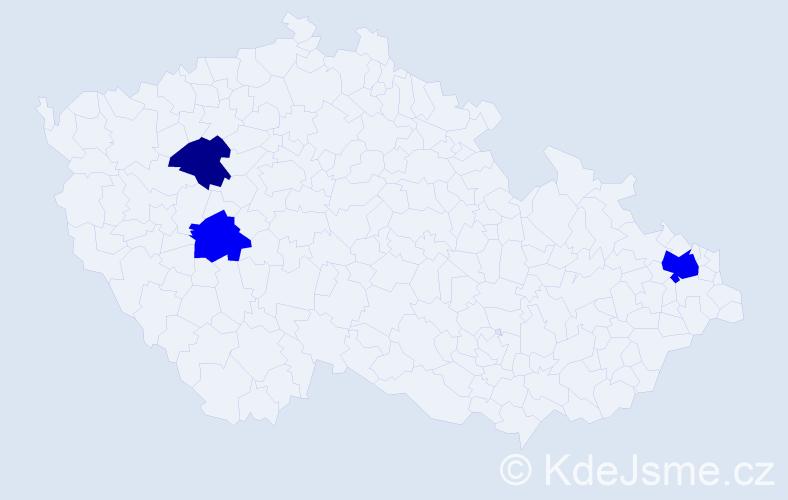 Příjmení: 'Erdelyiová', počet výskytů 5 v celé ČR