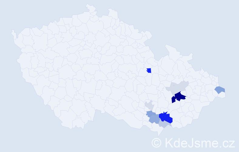 Příjmení: 'Kratochvila', počet výskytů 27 v celé ČR