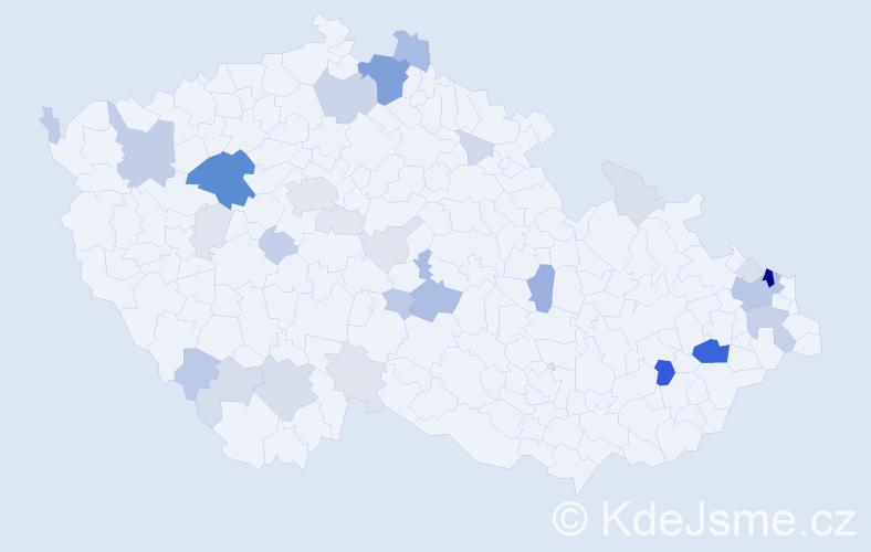 Příjmení: 'Kubla', počet výskytů 124 v celé ČR