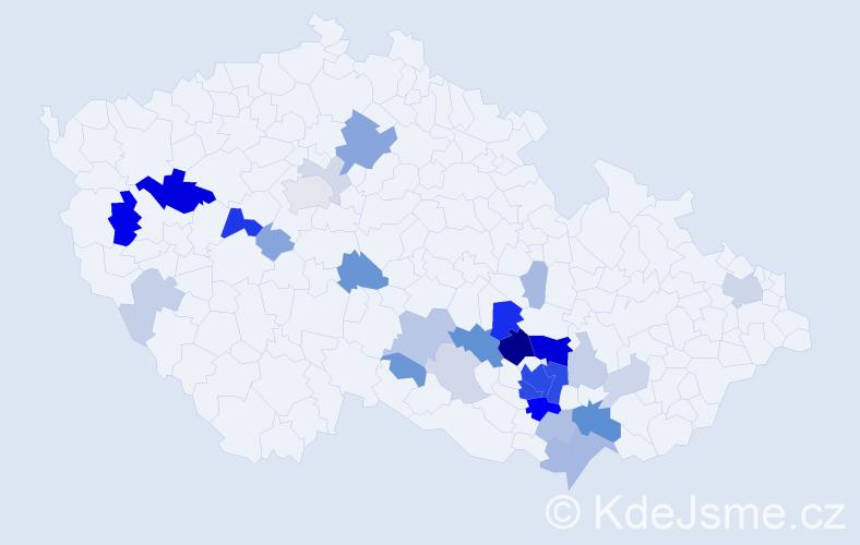 Příjmení: 'Knecht', počet výskytů 110 v celé ČR