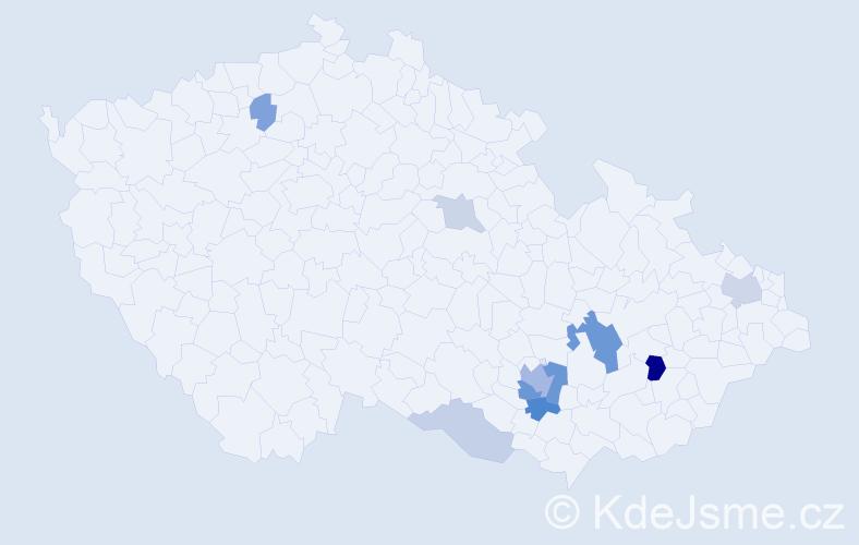 Příjmení: 'Edlerová', počet výskytů 22 v celé ČR